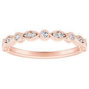 EMILIA Vintage Diamond Wedding Ring In 14K Rose Gold