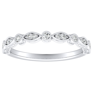 EMILIA Vintage Diamond Wedding Ring In 14K White Gold