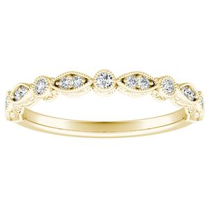 EMILIA Vintage Diamond Wedding Ring In 14K Yellow Gold