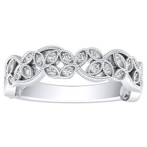 KIMBERLY Vintage Diamond Wedding Ring In 14K White Gold