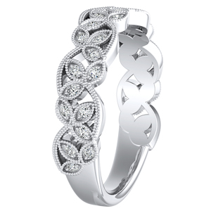 KIMBERLY Vintage Diamond Wedding Ring In 14K White Gold