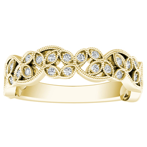 KIMBERLY Vintage Diamond Wedding Ring In 14K Yellow Gold