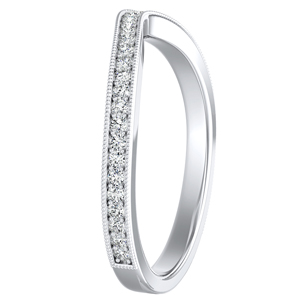 ALEXANDRA Vintage Diamond Wedding Ring In 14K White Gold
