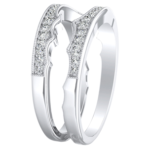 VALERIA Vintage Diamond Wedding Ring In 14K White Gold