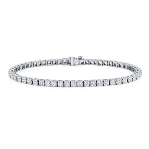 Certified 14k White Gold Classic 4-Prong Round Diamond Tennis Bracelet 3.00 ct. tw. (I-J, I1)