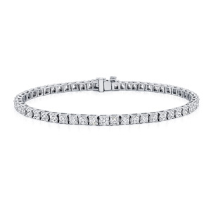 Certified 14k White Gold Classic 4-Prong Round Diamond Tennis Bracelet 4.00 ct. tw. (I-J, I1)
