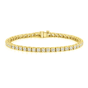 Certified 14k Yellow Gold Classic 4-Prong Round Diamond Tennis Bracelet 2.00 ct. tw. (I-J, I1)
