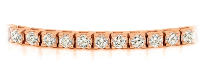 Certified 14k Rose Gold Classic 4-Prong Round Diamond Tennis Bracelet 2.00 ct. tw. (I-J, I1)