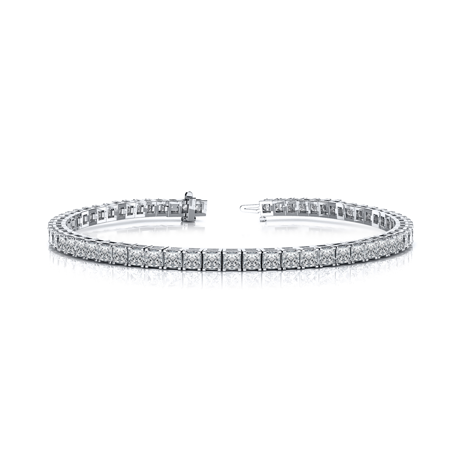 Certified 14k White Gold 4-Prong Princess Diamond Tennis Bracelet 6.00 ct. tw. (I-J, I1)
