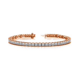 Certified 14k Rose Gold 4-Prong Princess Diamond Tennis Bracelet 4.00 ct. tw. (G-H, VS)