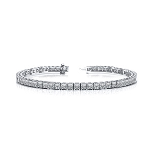 Certified 14k White Gold 4-Prong Princess Diamond Tennis Bracelet 4.00 ct. tw. (G-H, VS)