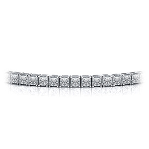 Certified 14k White Gold 4-Prong Princess Diamond Tennis Bracelet 4.00 ct. tw. (I-J, I1)