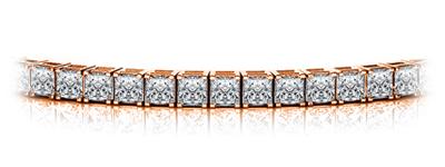 Certified 14k Rose Gold 4-Prong Princess Diamond Tennis Bracelet 4.00 ct. tw. (I-J, I1)