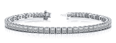 Certified 14k White Gold 4-Prong Princess Diamond Tennis Bracelet 4.00 ct. tw. (I-J, I1)