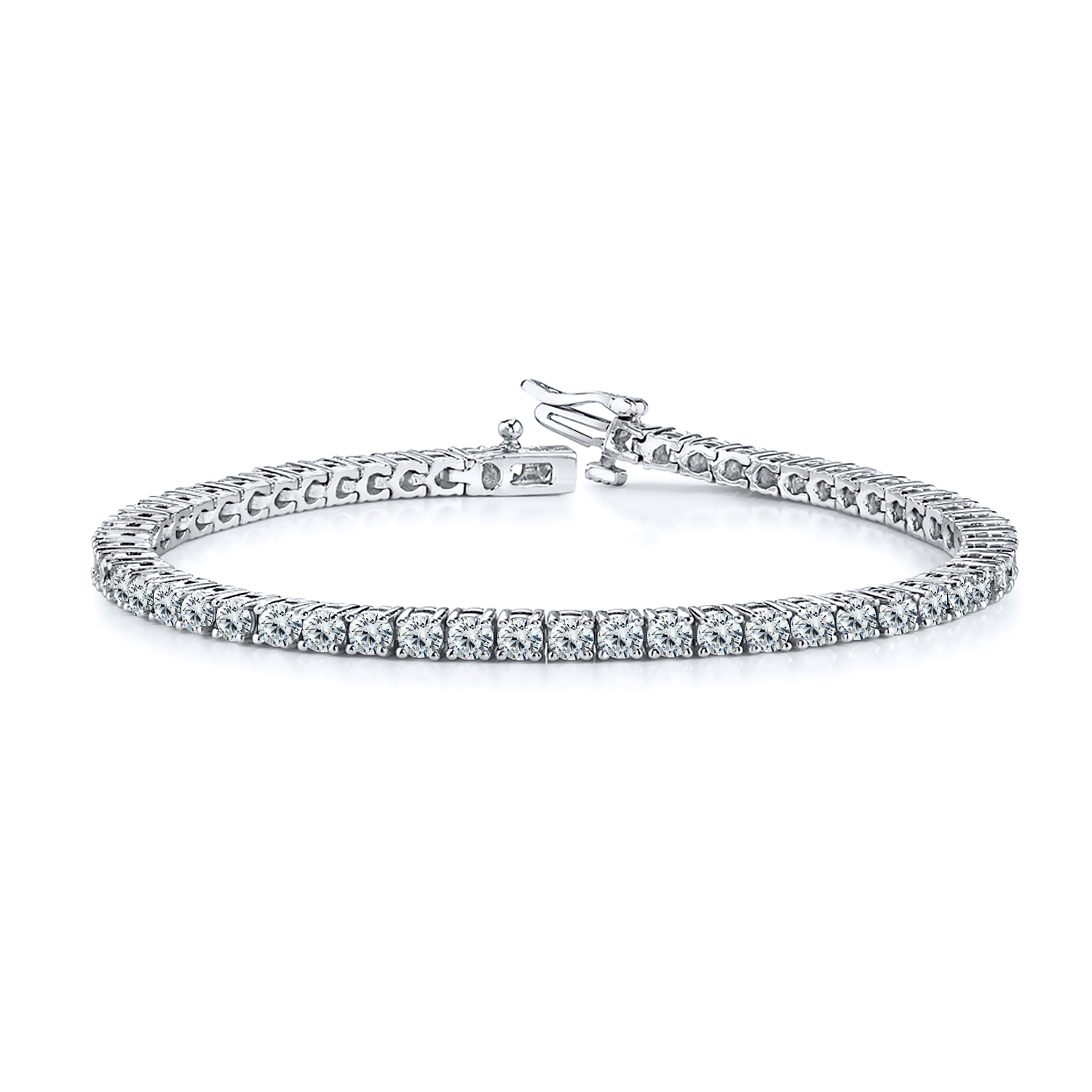 Certified 14k White Gold 4-Prong Round Diamond Tennis Bracelet 2.00 ct. tw. (I-J, I1)