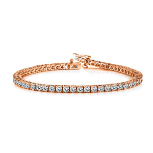 Certified 14k Rose Gold 4-Prong Round Diamond Tennis Bracelet 2.00 ct. tw. (I-J, I1)