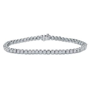 Certified 18k White gold Classic 4-Prong Round Diamond Tennis Bracelet 2.00 ct. tw. (I-J, I1)