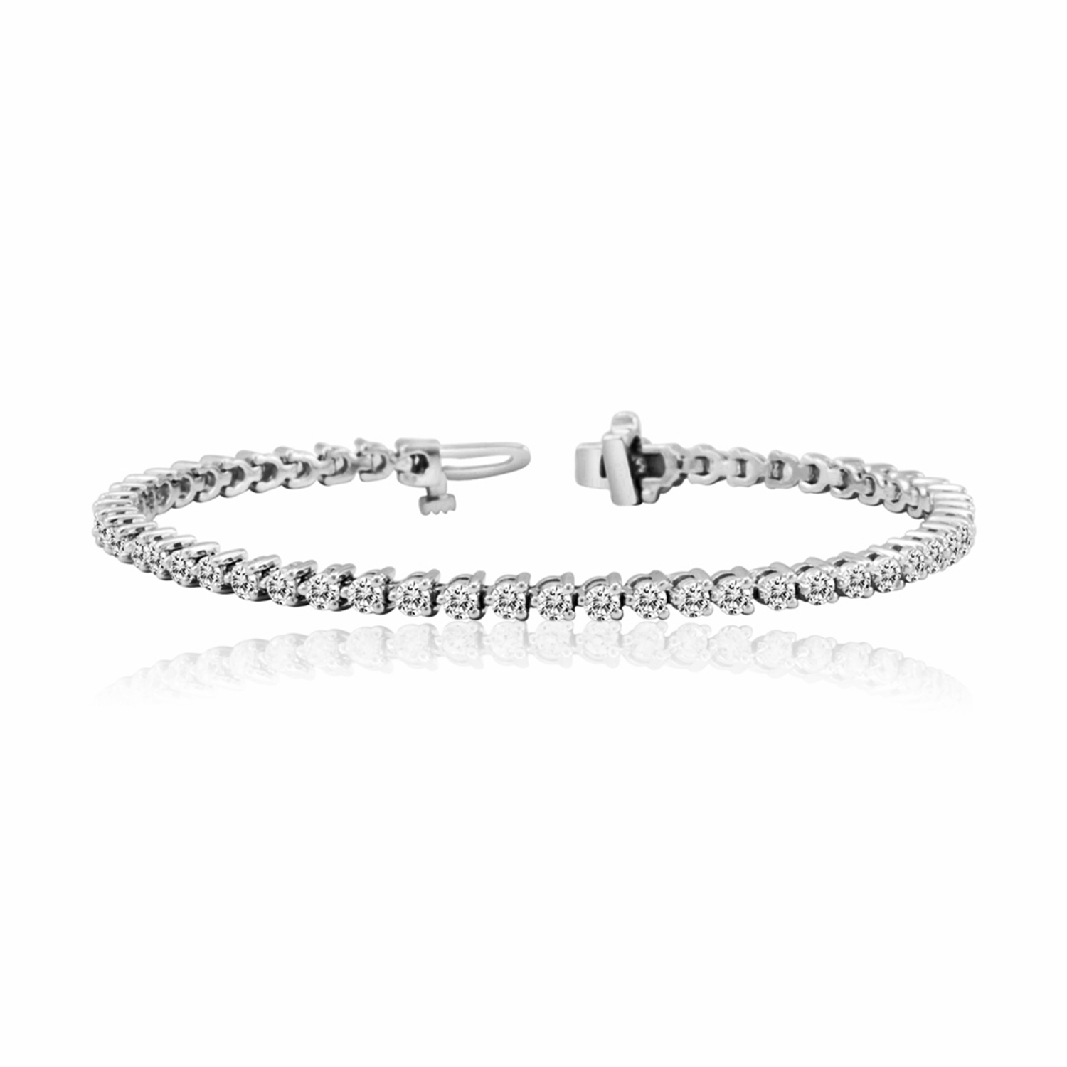Certified 14k White Gold 3-Prong Round Diamond Tennis Bracelet 3.00 ct. tw. (I-J, I1)