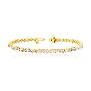 Certified 14k Yellow Gold 3-Prong Round Diamond Tennis Bracelet 3.00 ct. tw. (I-J, I1)
