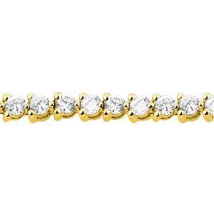 Certified 14k Yellow Gold 3-Prong Round Diamond Tennis Bracelet 2.00 ct. tw. (I-J, I1)
