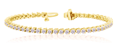 Certified 14k Yellow Gold 3-Prong Round Diamond Tennis Bracelet 2.00 ct. tw. (I-J, I1)
