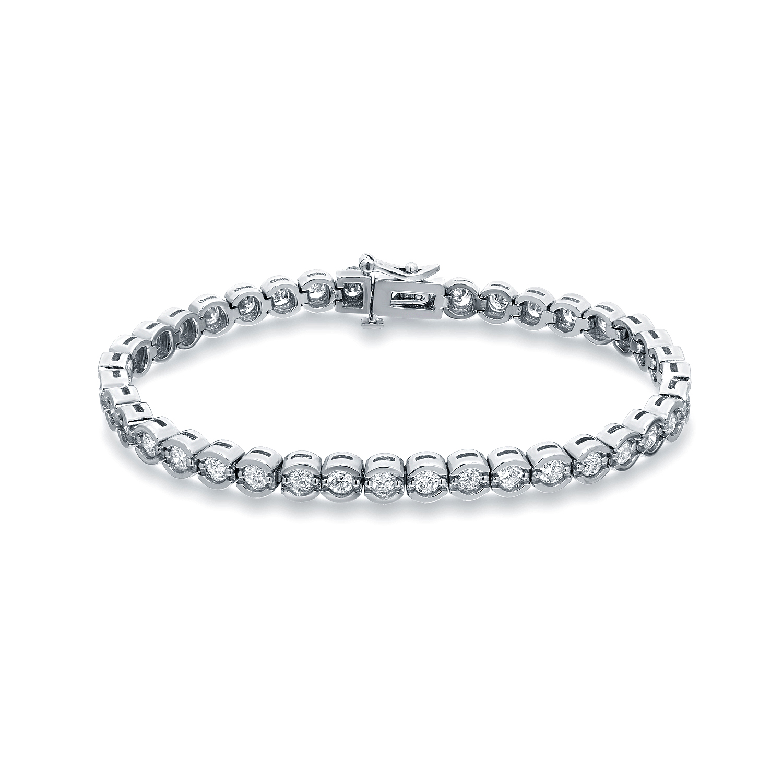 Certified 14k White Gold Half Bezel Round Diamond Tennis Bracelet 3.00 ct. tw. (I-J, I1)