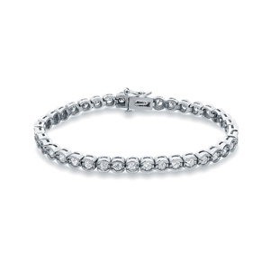 Certified 14k White Gold Half Bezel Round Diamond Tennis Bracelet 3.00 ct. tw. (I-J, I1)