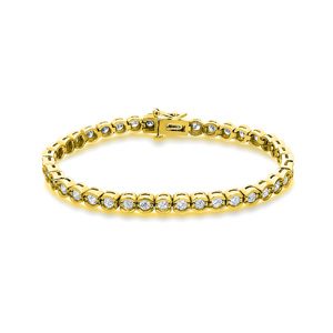 Certified 14k Yellow Gold Half Bezel Round Diamond Tennis Bracelet 2.00 ct. tw. (I-J, I1)