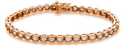Certified 14k Rose Gold Half Bezel Round Diamond Tennis Bracelet 2.00 ct. tw. (I-J, I1)