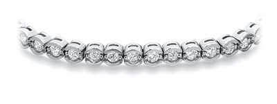Certified 14k White Gold Half Bezel Round Diamond Tennis Bracelet 2.00 ct. tw. (I-J, I1)
