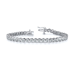 Certified 14k White Gold Bezel Round Diamond Tennis Bracelet 3.00 ct. tw. (I-J, I1)