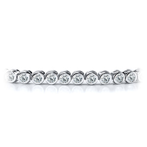 Certified 14k White Gold Bezel Round Diamond Tennis Bracelet 2.00 ct. tw. (I-J, I1)