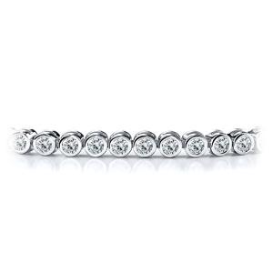 Certified 14k White Gold Bezel Round Diamond Tennis Bracelet 2.00 ct. tw. (I-J, I1)