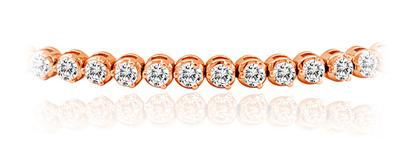 Certified 14k Rose Gold 3-Prong Round Diamond Tennis Bracelet 2.00 ct. tw. (I-J, I1)