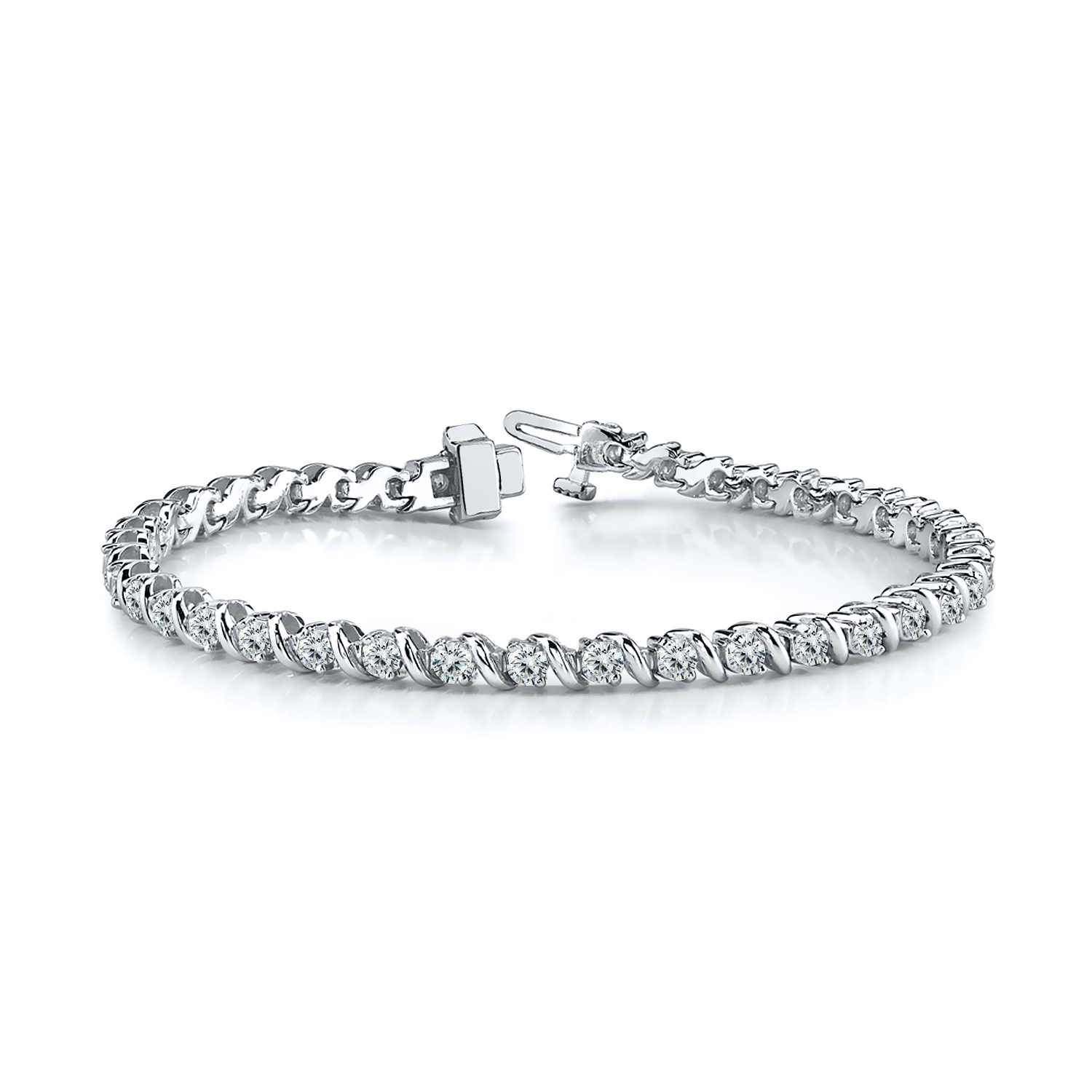 Certified 14k White Gold Round Diamond Tennis Link Bracelet 3.00 ct. tw. (I-J, I1)