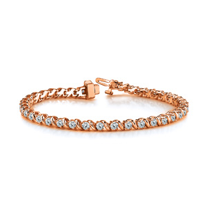 Certified 14k Rose Gold Round Diamond Tennis Link Bracelet 3.00 ct. tw. (I-J, I1)