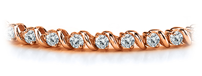 Certified 14k Rose Gold Round Diamond Tennis Link Bracelet 2.00 ct. tw. (I-J, I1)