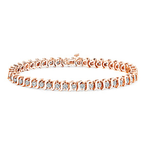 Certified 14k Rose Gold S Link Round Diamond Tennis Bracelet 1.00 ct. tw. (I-J, I1)