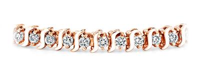 Certified 14k Rose Gold S Link Round Diamond Tennis Bracelet 1.00 ct. tw. (I-J, I1)