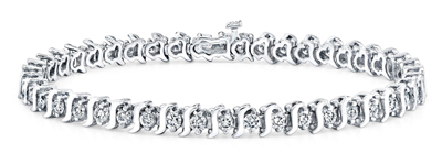 Certified 14k White Gold S Link Round Diamond Tennis Bracelet 1.00 ct. tw. (I-J, I1)