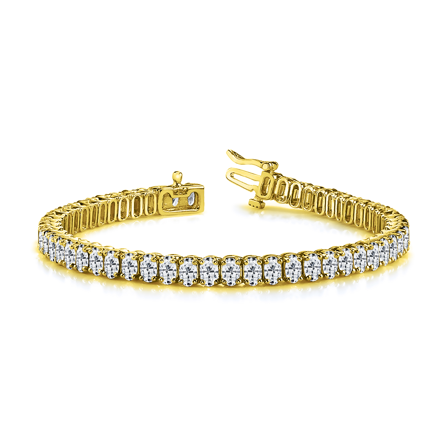 Certified 14k Yellow Gold Oval Diamond Tennis Bracelet 12.00 ct. tw. (I-J, I1)