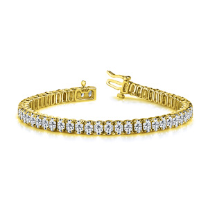 Certified 14k Yellow Gold Oval Diamond Tennis Bracelet 13.00 ct. tw. (I-J, I1)