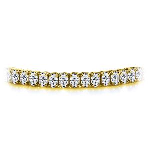 Certified 14k Yellow Gold Oval Diamond Tennis Bracelet 12.00 ct. tw. (I-J, I1)