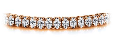 Certified 14k Rose Gold Oval Diamond Tennis Bracelet 12.00 ct. tw. (I-J, I1)