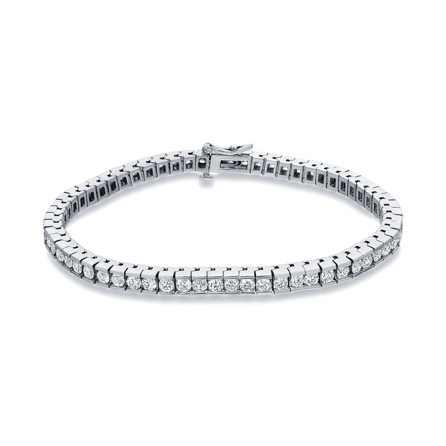 Certified 14k White Gold Channel Set Round Diamond Tennis Bracelet 2.00 ct. tw. (I-J, I1)