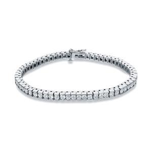 Certified 14k White Gold Channel Set Round Diamond Tennis Bracelet 3.00 ct. tw. (I-J, I1)