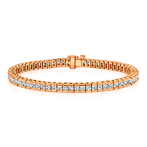 Certified 14k Rose Gold Channel Set Princess Cut Diamond Tennis Bracelet 5.00 ct. tw. (I-J, I1)