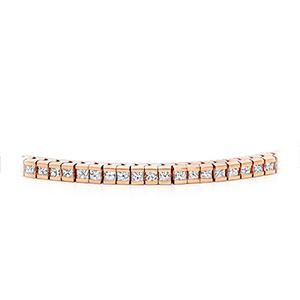 Certified 14k Rose Gold Channel Set Princess Cut Diamond Tennis Bracelet 4.00 ct. tw. (I-J, I1)