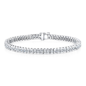 Certified 14k White Gold Channel Set Princess Cut Diamond Tennis Bracelet 5.00 ct. tw. (I-J, I1)
