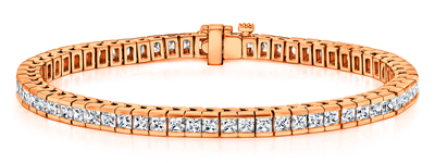 Certified 14k Rose Gold Channel Set Princess Cut Diamond Tennis Bracelet 4.00 ct. tw. (I-J, I1)